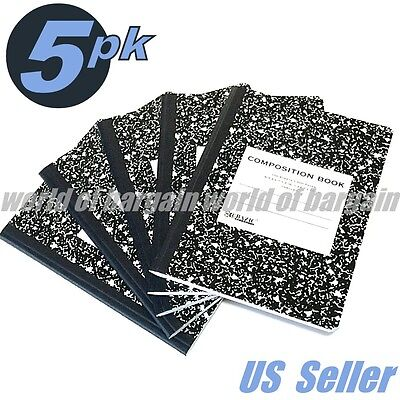 5Pk Composition Notebook Unruled Non Ruled 9-3/4 x 7-1/2 Note Book 200 Pages C41