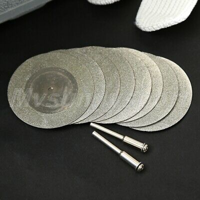 8pcs 50mm Mini Diamond Cutting Off Disc Rotary Tool Drills & 2pcs Shaft Tool