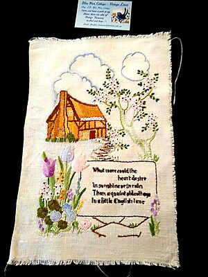 Vintage Heavily Hand Embroidered Picture Panel ~Verse & Thatch Cottage & Flowers