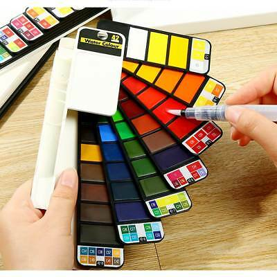 18/25//33/44 Colors Solid Foldable Watercolor Pigment Set With Water Brush Pen