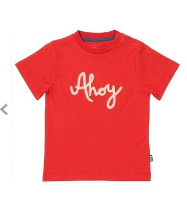 Kite Ahoy Red T shirt Top 100% Organic Cotton 12-18 months