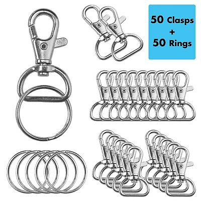 "50Pack Swivel Clasps Lobster Claw Clasp Lanyard Snap Hook 1 5/8""x1"" w/ 50 Rings"