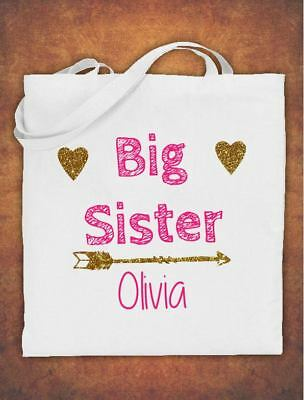 Personalised Big Sister Birthday Gift Kids Tote Bag Childrens Cotton White