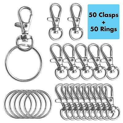 """50Pack Metal Swivel Lobster Claw Clasp Lanyard Snap Hook 1.25""""x0.5"""" w/ 50 Rings"""