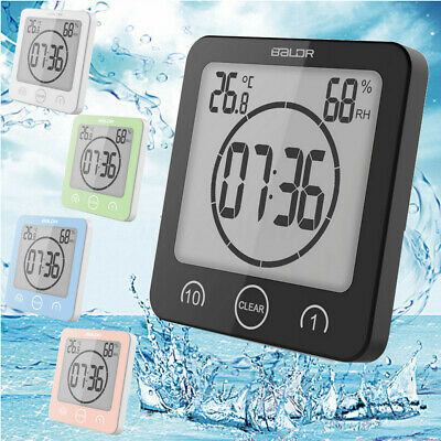 Waterproof Shower Clock Suction Wall Stand Alarm Timer Temperature Humidity Bath