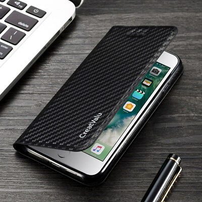Magnetic Carbon Leather Flip Wallet Phone Case Cover for Apple iPhone XR 8 7 6