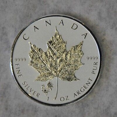 2017 Canada $5 Lunar Rooster Privy Silver Maple Leaf Reverse Proof 1oz Coin