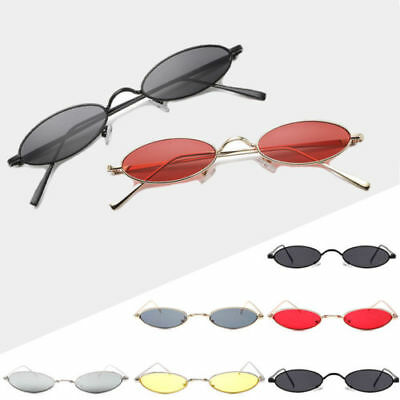 Unisex Small Oval Sunglasses Retro Metal Frame Vintage Round Glasses Men Women