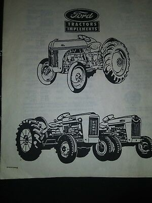 Ford tractor Dearborn implements parts retail price list manual