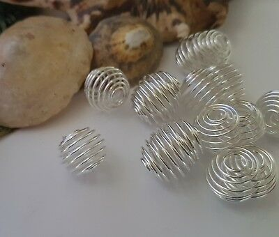 15Mm Silver Colour Round Spiral Wire Bead Cages, Pendants Necklace, Jewellery