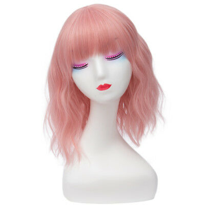 Lolita Cute Short Light Pink Curly Women Bangs Cosplay Full Wig+Wig Cap
