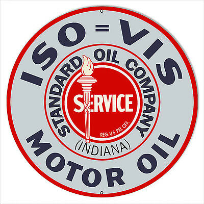 Extra Large ISO VIS Standard Service Motor Oil Sign 24 Round
