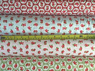 100/% COTTON FABRIC SOFT VINTAGE FLORAL DITSY TEA DRESS MATERIAL SEW LIME YELLOW