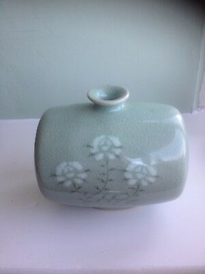 Antique Chinese Celadon Floral Decorated Vase With Marks To Base