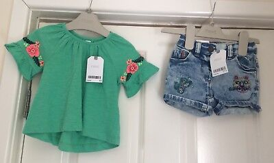 Girls Next Denim Shorts And Floral Top 6-9 Months Bnwt