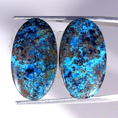 17.20Cts 100% Natural Blue Azurite Oval Pair Cabochon Loose Gemstone