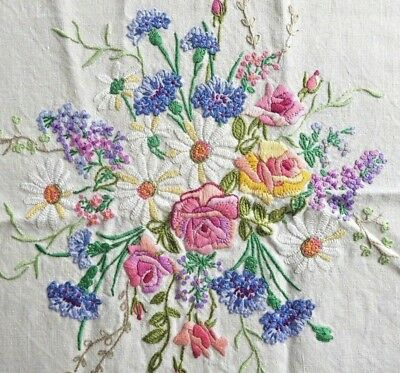 VINTAGE HAND EMBROIDERED LINEN TABLECLOTH - FLOWERS & BOWS - 50 x 52 inch