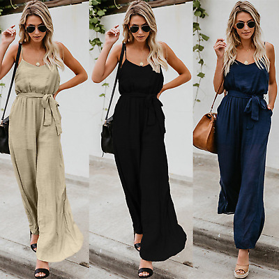 AU Womens Summer Sleeveless Belted Jumpsuit Ladies Wide Leg Pants Playsuits 6-16