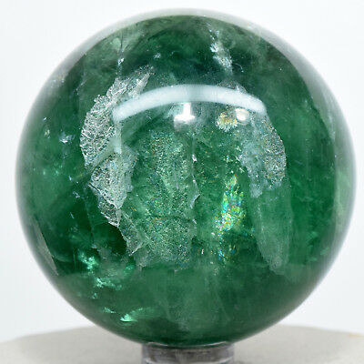57mm Rainbow Green Fluorite Sphere Natural Sparkling Mineral Stone Ball - China