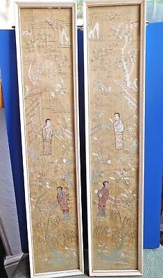 Chinese pair of silk embroidery pictures On each bats firs willows 2 people