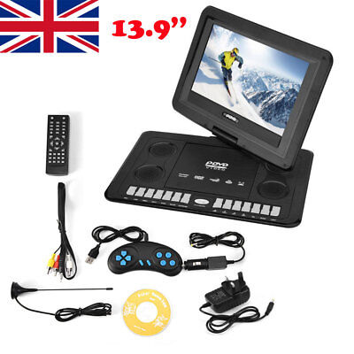 "13.9"" Portable DVD In Car Player 270° Swivel Screen SD with Remote Controller UK"
