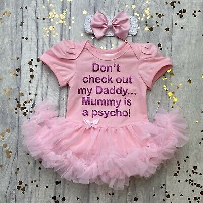 BABY GIRL Funny Check DADDY Out Tutu Romper Dress NEWBORN Princess MUMMY Present