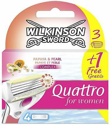 Wilkinson Sword Quattro for Women Klingen Papaya und Pearl, 3 +1 Gratis, 4 Stüc