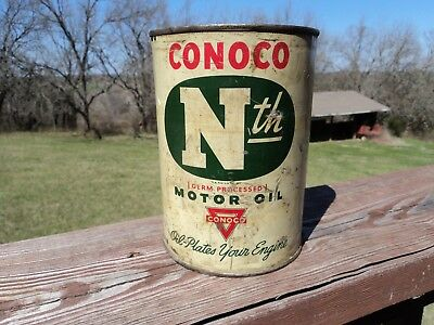Conoco Nth Motor Oil Tin Quart Can With Soldered Seal