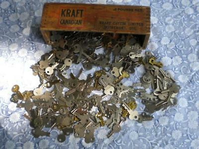 257 vintage antique keys of suitcase and wooden chest