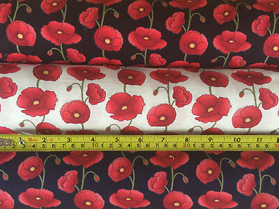 100 Cotton Fabric Armistice Remembrance Day Poppies Material World