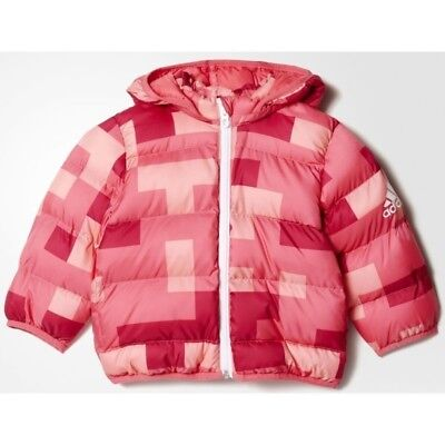 girls adidas coat infants 2ply synthetic down hooded puffa winter jacket coat