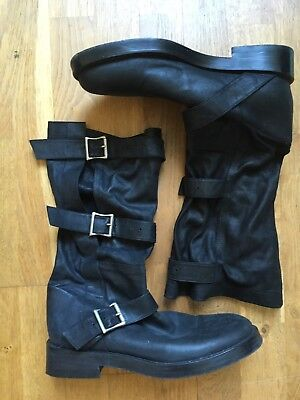 Ann Demeulemeester Grunge Rock Gothic Cool Slouchy Pirate Boots Booties IT38