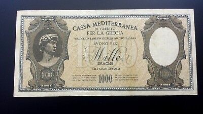 Greece Paper Money 1000 Drachmai Cassa Mediterranea 1941 Very Nice
