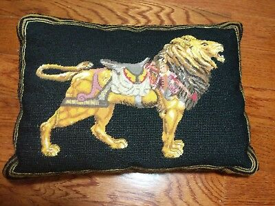 Imperial Elegance  Wool Needlepoint Embroidery Toy Lion Fantasy Throw Pillow VTG