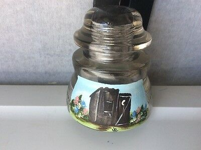 Vintage No-1 USA 16-40 Whitall Tatum Clear Glass Insulator Hand Painted Outhouse