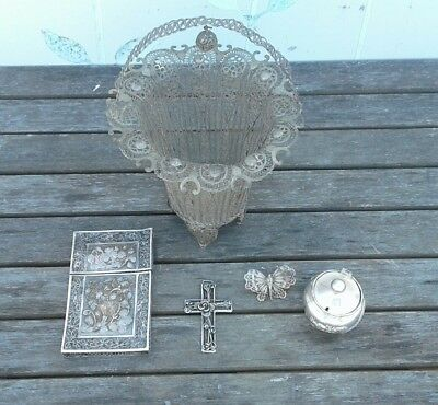 Antique 19Th Century Chinese Silver Filigree Card Case & Basket , Cross Etc