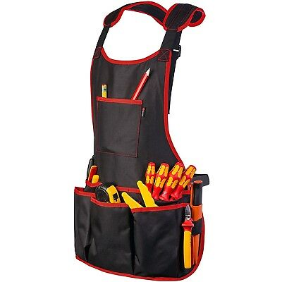 Work Apron With 16 Tool Pockets Fully Adjustable & Waterproof Black BBQ Apron