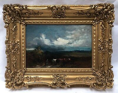 David Cox Junior Original Oil Painting On Panel Landscape With Cows