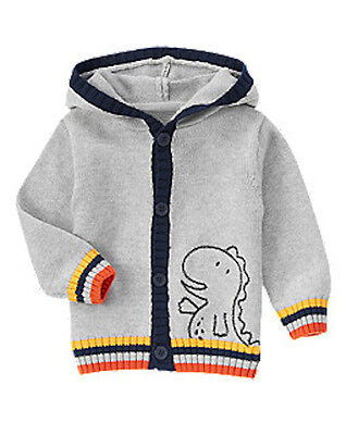 Gymboree  ANIMAL FRIENDS hooded t-rex cardigan sweater size 12-18 months NWT