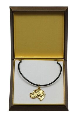 Pointer - gold plated necklace with dog, in box, Art Dog USA