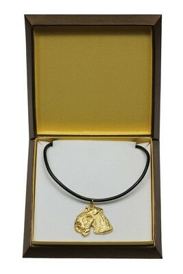 Lakeland Terrier - gold plated necklace with dog, in box, Art Dog USA