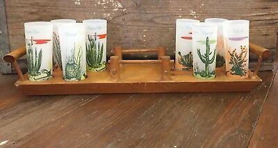 Vintage Blakely Gas And Oil Frosted 8 Arizona Cactus Tall Glasses W/ Wood Tray