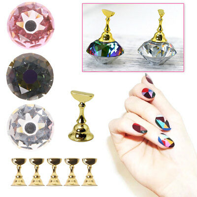 1 Crystal Base + 5 pcs False Nails Holder For Nail Art Practice Display