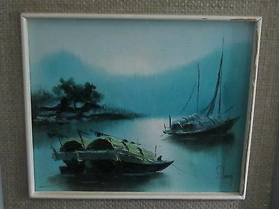 Vintage 1970's S.T. Young Chinese Framed River Boat Landscape Oil Painting