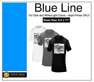 Blue Line Dark Iron On Heat Transfer Paper for Inkjet 8.3 X 11 - 100 Sheets
