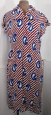 """Vintage Womens 1970s Maroon&Blue Paisley Striped Dress LARGE Size 16(Bust 42"""")"""