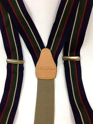 Men's Brooks Brothers Button Suspenders Brown Leather Trim Navy Green Stripe EUC