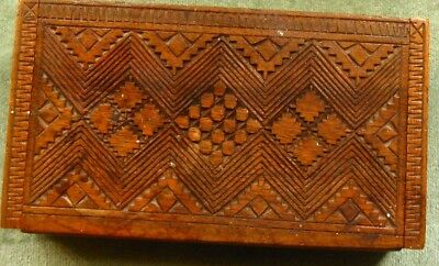 Hand carved wooden box probably olive wood 19cm x 10cm x 3cm