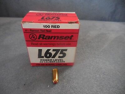 One Box of Ramset L675 Red Head .22 Cal Single Shot Powder Loads Use in L1600