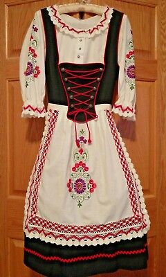 VTG AUTHENTIC TIROLER DIRNDL DRESS w/ Embroidered Blouse & Apron  44 (US 14)